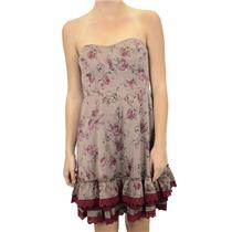 6 NWT Free People Dirty Dancing Dress Taupe Pink Flowers Boning Sweetheart Neck