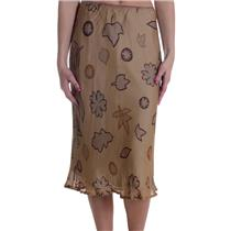 XS Miah Y Anthropologie Tan Leaf Print Chiffon Skirt Lined Elastic Waist A-Line