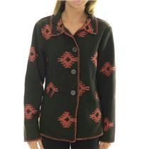 NWT Outback Trading Company Brown/Orange Aztec Fleece Valencia Blanket Coat