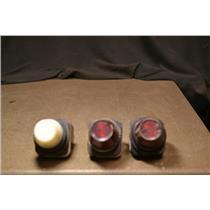 (LOT OF 3) Allen Bradley 800H-PR16 Pilot Light, 1 White & 2 Red Lenses