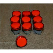 (LOT OF 10) Telemecanique Red Pilot Light Head ZB4BV043