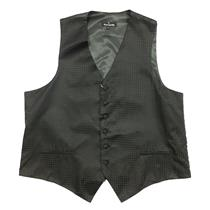 L NWT Fumagalli's Mens Formal Tuxedo Houndstooth Black Button Front Silk Vest