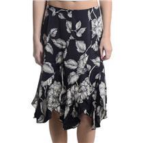 Sz 6 NWT Karen Kane Lifestyle Silk Black/White Floral Summertime Flutter Skirt