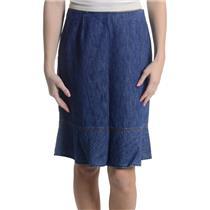 Sz 2 Ann Taylor Cotton Pencil Skirt Ruffle Hem Chambray Light Denim Rigid