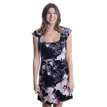 US 6 NEW French Connection Electric Thunder Shift Dress Black/Purple Print 15694