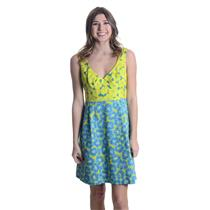 Sz 8 Nanette Lepore Girls Only Cotton/Silk Cutout Back Dress In Lime/Turquoise