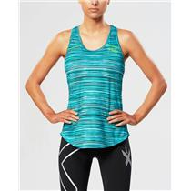 2XU Women's Ice X Singlet Running Top - Blue / Green - Women's Small