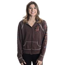 XS 2BFree Brown Exposed Fleece Zip Front Hoodie BULLDOGS ATHLETICS Logo Raglan
