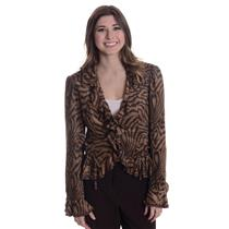 8 NWT Joseph Ribkoff Sueded Brown Zebra/Tiger Print Ruffle Collar Short Jacket
