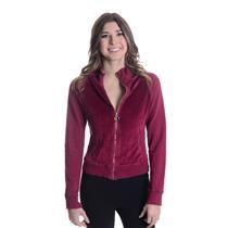 3/M Rebecca Beeson Burgundy Red Velour Raglan Zip Front Track Jacket Heart Zip