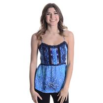Size 2 NWT Free People Swirling Sky Storm Empire Tank Top Blouse Lace Edge Trim