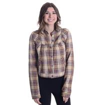 XS Free People Tan Plaid Button Down Long Sleeve Light Bib Jacket Front Pockets