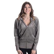 L NWT Authentic Juicy Couture Grey Slate Pink Glitter Dolman Zip Hoodie JGS00372