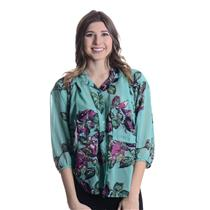 M New Lavender Brown Aqua/Fuschia Floral Chiffon Blouse Hi-Lo Button Front 24012