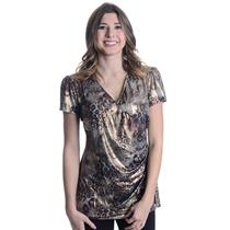 8 NWT Joseph Ribkoff Crossover Bust Faux Wrap Leopard Print Cap Sleeve Blouse