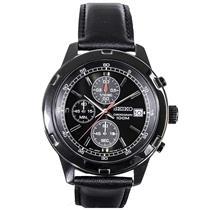 Seiko Man's Chronograph SKS439 Black:Steel Case/Leather Strap. 50% off Retail