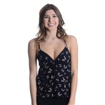 L NEW Juicy Couture Modal Lace Cami Bow Print Empire Waist Black w/Heart Charms