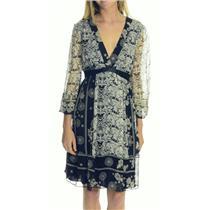 12 NWT ABS Allen Schwartz Silk Chiffon White Black Kaftan Tie Waist Dress 18194