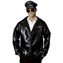 Adult Black Costume Airline Captain Pilot Faux Leather Jacket Wing Patch Belt