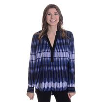 NEW Sz 8 Vince Tie Dye Stripe Silk V-Neck Blouse Top In Monaco Starlight Blue