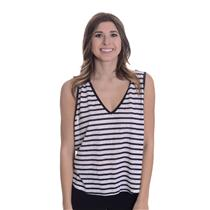 New L LNA White/Navy Blue V Swing High-Lo Hem Jersey Knit Sleeveless Tank Top
