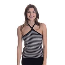 New L LNA Ivory/Black Striped Dawn Halter Neckline Ribbed Knit Sleeveless Top