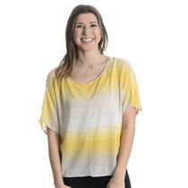 Sz 1 (S) M by Michael Stars Beige/Yellow Striped Dolman Sleeve Linen Blend Top