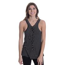 NWT Sz L LNA Tie Lace Up Jersey Knit Scoop Neck Tank Top in Black/White Stripes