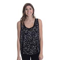 NEW Sz L Tart Hannah Ribbed Detail Scoop Neck Tank Top in Black Multi T6502