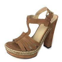 Sz 7.5 Stuart Weitzman Tempo T-Strap Platform Heeled Sandals Luggage/Rice Nubuck
