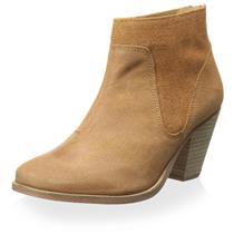 """NIB Sz 6 J. Shoes Belgrave Light Tan Suede Heel Zip Round Toe 2.5"""" Heel Bootie"""