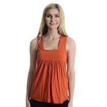 One Size Michael Stars Orange Square Neck Sleeveless Jersey Knit Cotton Tank Top