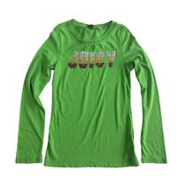 8 Authentic NWT Juicy Couture Kids Green Run Ombre Gold Metallic Sequin Logo Top