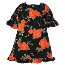 12 NWT LTP by Les Tout Petites Cut Floral Rose Dress Black 3/4 Lantern Sleeve