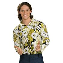 60's 70's Disco Hippie Feeling Groovy Green Floral Print Men's Costume Shirt