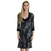 NWT S Karen Kane Blue Cheetah Print Soft Jewel Box 3/4 Sleeve V-Neckline Dress
