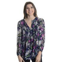 New XS Joie Loftis Dark Navy Floral Print 100% Silk Chiffon V-Neck Blouse Top