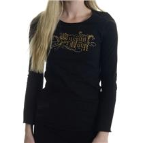Size 14 NWT May 75 Kids 575 Denim Queens of ROCK Black Top Long Sleeve T-Shirt