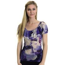 S Karen Kane Soft Mesh Purple White Top w/Cap Sleeves & Ruffle Front USA MADE