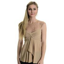 Sz 4 BCBGMAXAZRIA Women's Draped Lacy Silk Pleated Twist Cap Sleeeve Top In Nude
