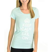 NWT HIHO Caribbean Wear Keep Calm And Sail On Graffiti Graphic T-Shirt Turquoise