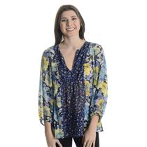 New XS Joie Thistle Dark Navy Floral Print 100% Silk Chiffon V-Neck Blouse Top