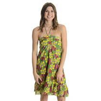 S T-Bags V1 Halter Tie Silk Blend Halter Tie Ruched Chest Dress Green/Yellow Geo
