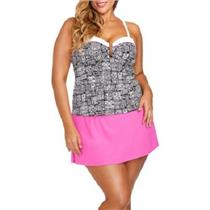 Collections by Catalina Women's Size 1X Tiki Tribal Bandeau Tankini Top w/ Skirt