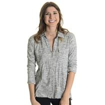 Sz 1 (S) James Perse Heather Gray Cuffed Sleeve Button Down 100% Cotton Shirt