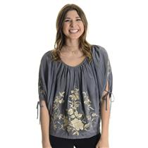 S Fifteen-Twenty 100% Silk Blue-Gray Blouse Cream Floral Embroidery Dolman Style