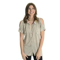 L NEW Linq Heathered Oatmeal Collared V-Neck Jersey Top Button Front Cap Sleeve