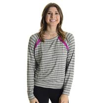 One Size Michael Stars Gray Top w/Thin Black Stripes & Fuchsia Silk Detail 4278C