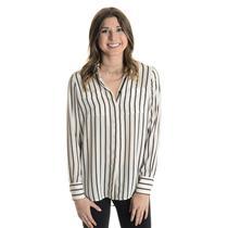 NWT 2 White House Black Market Ecru/Black Camille Stripe Soft Button Down Shirt