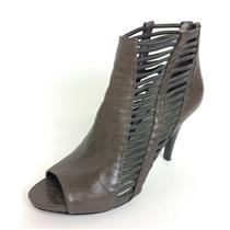 Sz 8.5 Nine West Amaze Taupe Strappy Elastic Peep-Toe Leather Heeled Booties